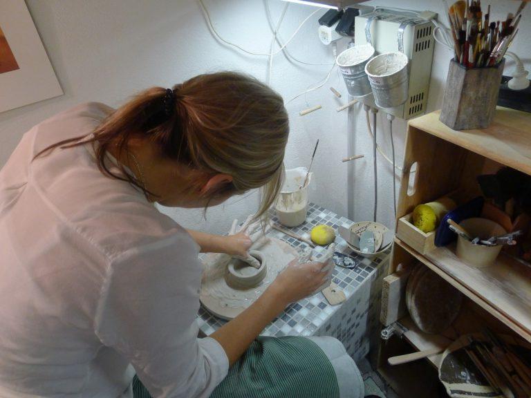 Anke bei der Feinarbeit (Kurs Ende 2014)